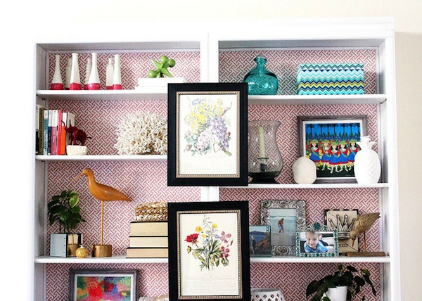 apartment envy interior design decorating DIY weekend project before and after makeover inspiration ideas how to how-to apartment condo rental washington dc d.c. district of columbia therapy design sponge custom bookcase bookcases built-ins builtins built ins wallpaper wrapping paper in back