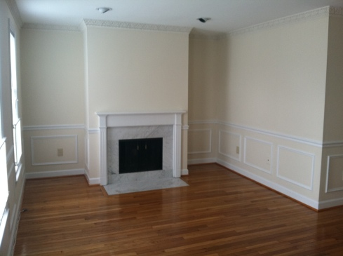 empty living room apartment condo hardwood floors natural light marble fireplace washington dc d.c. mantle windows bars