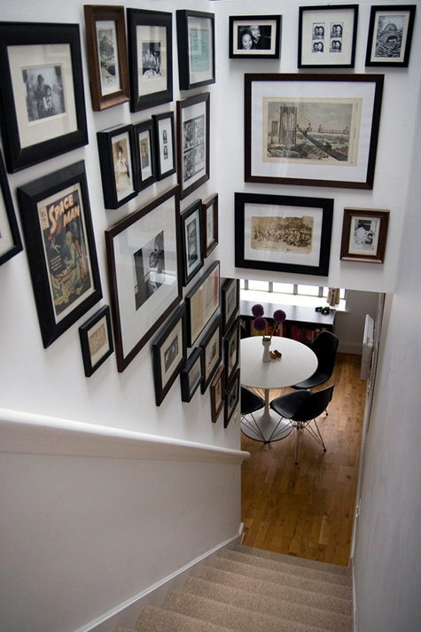 gallery wall staircase inspiration frames art going up stairs wall