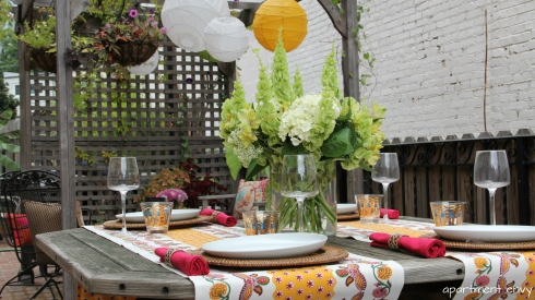 outdoor mexican theme girls night dinner party patio terrace brick deck patio laterns flowers interior design secor