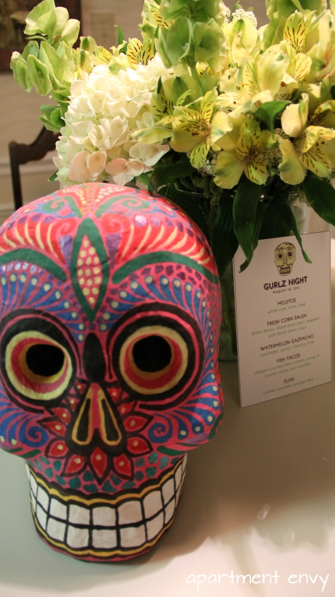 mexican theme themed dinner party girls night calavera skull