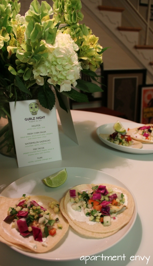 mexican theme themed dinner party girls night fish tacos tilapia