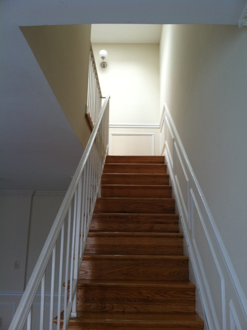 empty staircase before and after makeover