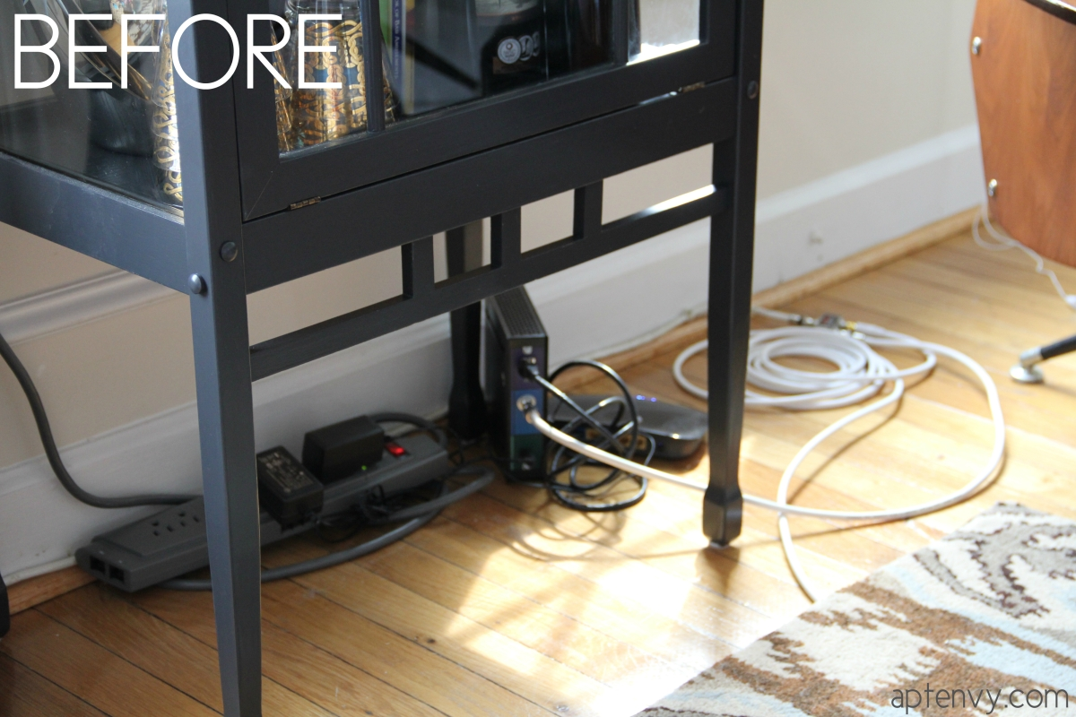 tricky trick hidden cords apartment envy. Black Bedroom Furniture Sets. Home Design Ideas